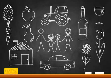 Drawings on blackboard Stock Vector - 16246442