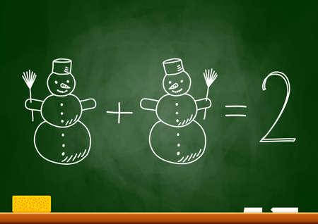 Drawing of snowmen on blackboard Vector