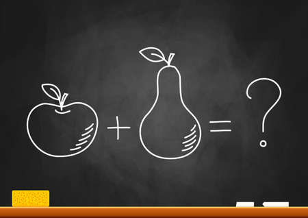 Drawing of apple and pear on blackboard Vector