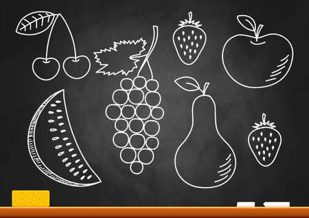 Drawing of fruits on blackboard Vector