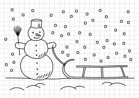 Drawing of snowman and sled on squared paper Stock Vector - 16246530