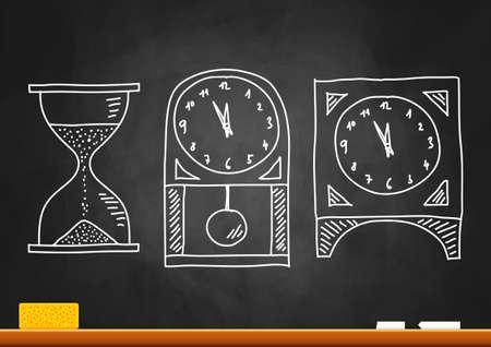 Drawing of clocks on blackboard  Vector