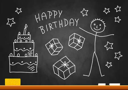 Drawing of boy and cake on blackboard Vector