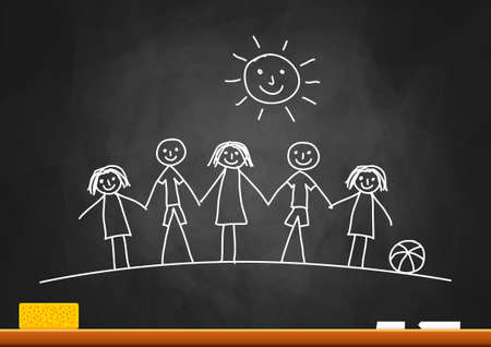 Drawing of children on blackboard Stock Vector - 16329935