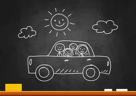 Tekening van auto met gezin op blackboard