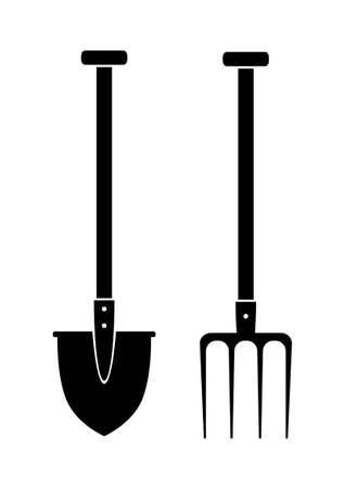 Spade y tenedor sobre fondo blanco Vectores