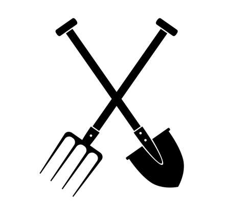 Spade and pitchfork on white background Vector