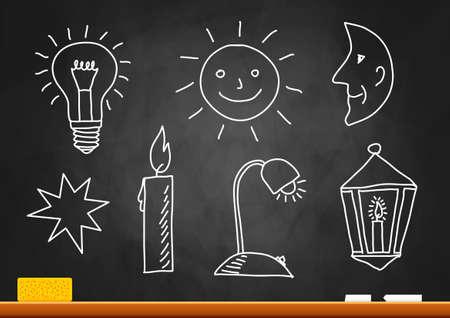 Drawings on blackboard Stock Vector - 16326551