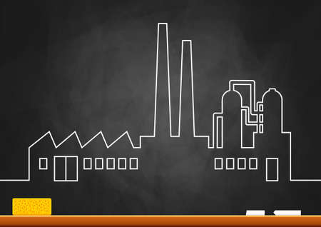Drawing of factory on blackboard Stock Vector - 16435350