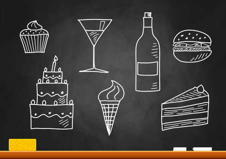 chalkboard: Drawing of food and drink on blackboard Illustration