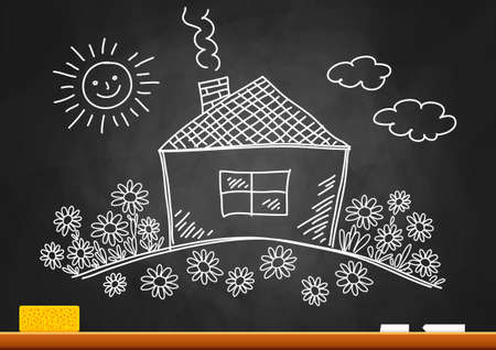 Drawing of house on blackboard Stock Vector - 16435401