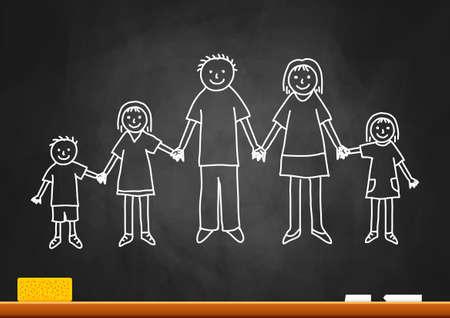 Tekening van familie op blackboard