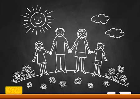 chalk drawing: Drawing of family on blackboard Illustration