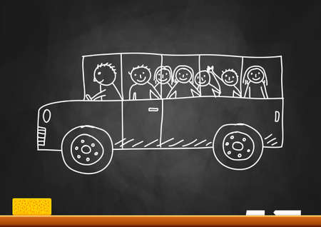 chalk board: Drawing of school bus on blackboard     Illustration