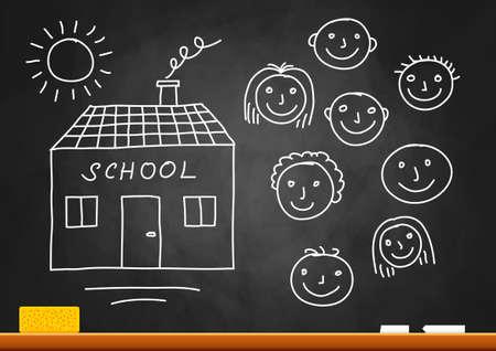 Drawing of school and children on blackboard