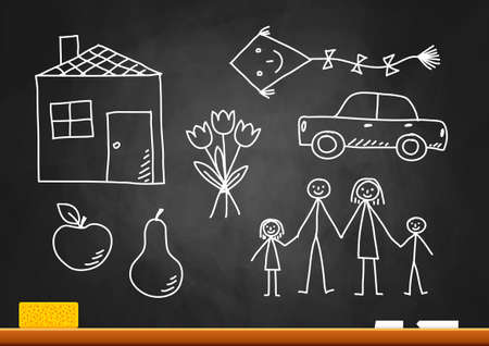 Drawings on blackboard Stock Vector - 16478233