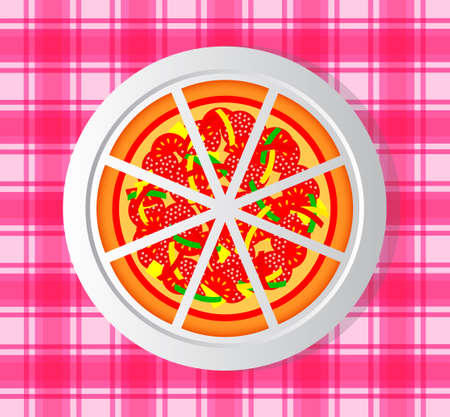 Pizza on porcelain plate Vector