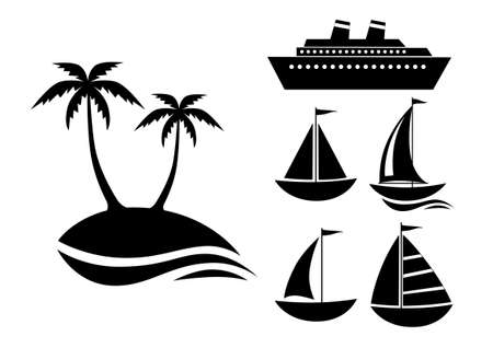 boating: Black icon collection