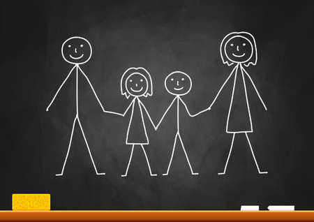 Drawing of family on blackboard Stock Vector - 16576401