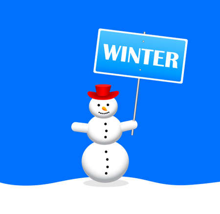Snowman with slogan banner Stock Vector - 16576384