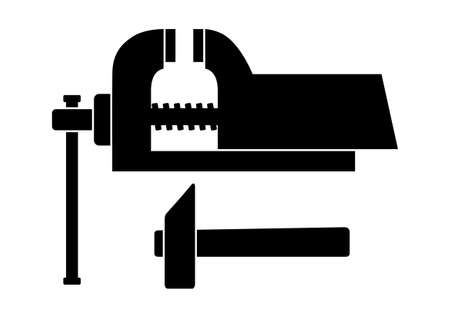 vice grip: Vice and hammer icon Illustration