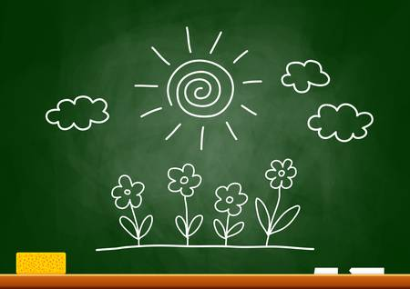 Drawing of sun and flowers on blackboard Stock Vector - 16875224