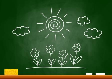 chalk board: Drawing of sun and flowers on blackboard