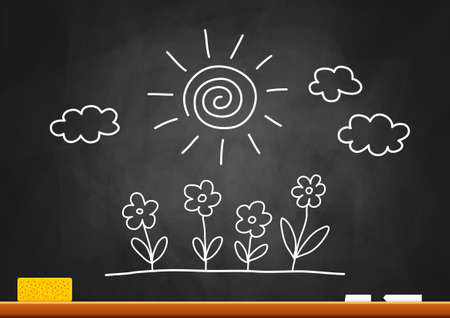 Drawing of sun and flowers on blackboard Stock Vector - 16875212