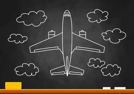 Drawing of plane on blackboard  Vector