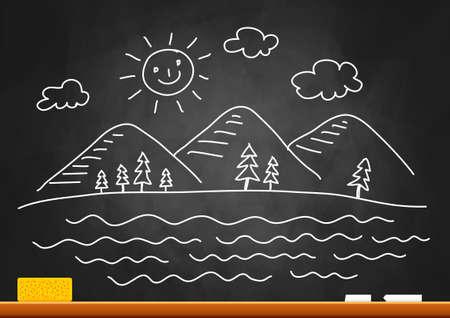 Drawing of landscape on blackboard Stock Vector - 16875221