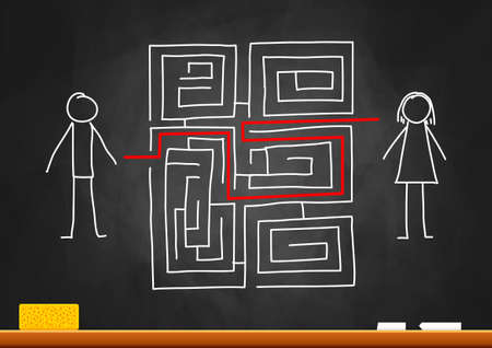 Drawing of labyrinth on blackboard Stock Vector - 16875214