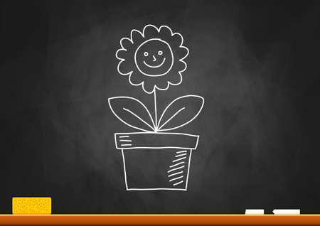 flowers in vase: Drawing of flower on blackboard