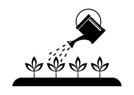 watering plants: Gardening Illustration
