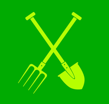 Spade and pitchfork on green background Stock Vector - 17205116