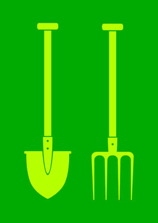 Spade and pitchfork on green background Stock Vector - 17218771