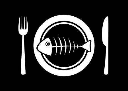 Fish on porcelain plate Stock Vector - 17420357