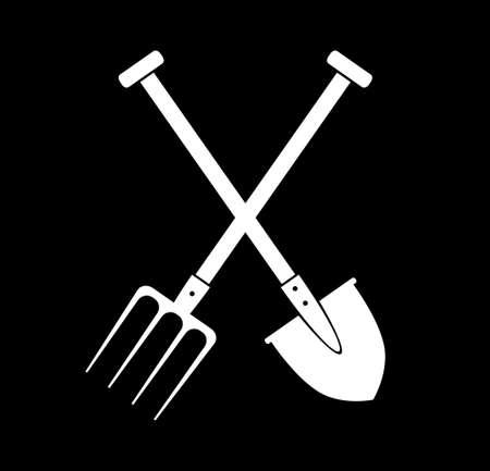 pitchfork: Spade and pitchfork on black background Illustration