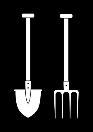 Spade and pitchfork on black background Stock Vector - 17536820