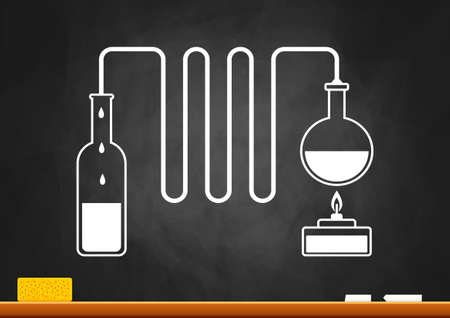 Distillation kit on blackboard Vector
