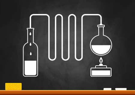 distill: Distillation kit on blackboard