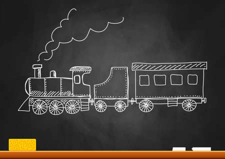 Drawing of train on blackboard Stock Vector - 17628366