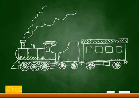 powerful creativity: Drawing of train on blackboard