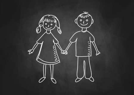 Drawing of children on blackboard Stock Vector - 17740492