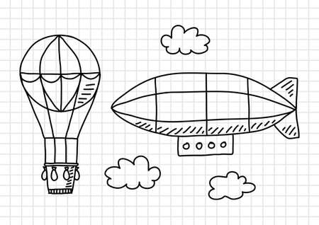 squared paper: Hot air balloon and airship on squared paper