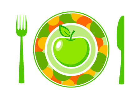 Green apple on colorful plate Stock Vector - 17855945