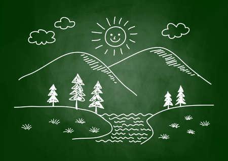 Drawing of landscape on blackboard Stock Vector - 17855949