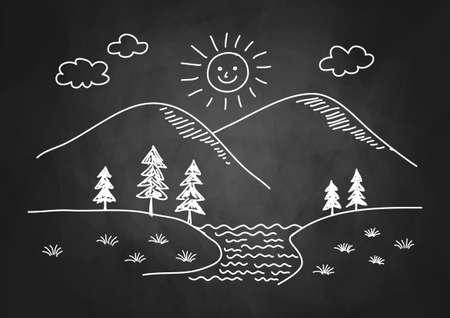 Drawing of landscape on blackboard Stock Vector - 17855948