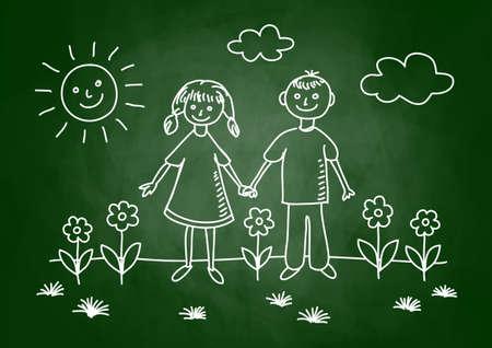 Drawing of children on blackboard Stock Vector - 17981063