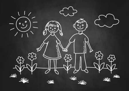 Drawing of children on blackboard Stock Vector - 17981058