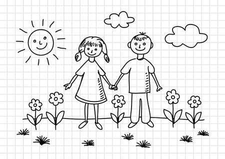 Drawing of children on squared paper Stock Vector - 17981057